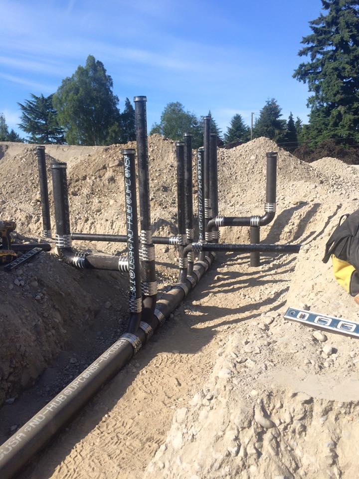 cast iron ground plumbing work