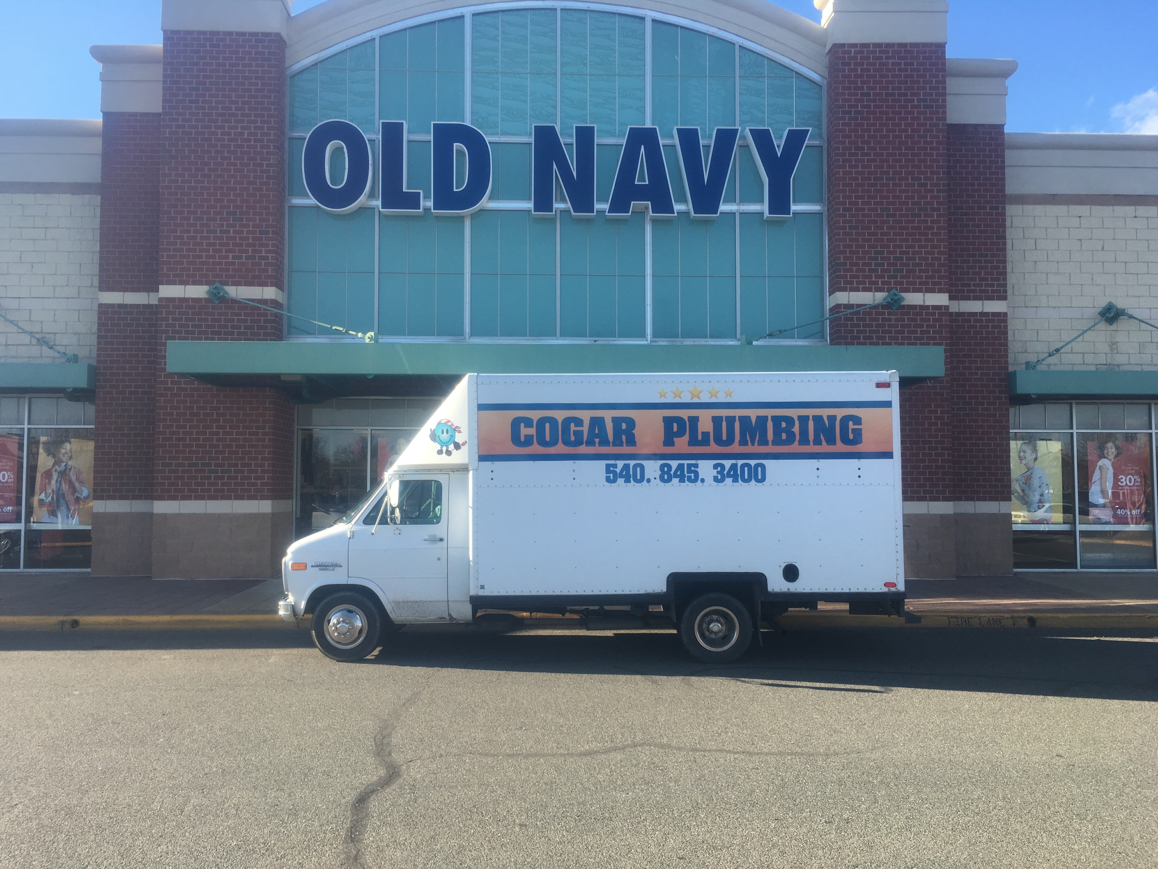 Plumbing truck at old navy